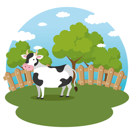 cows in the farm scene vector illustration design Illustration