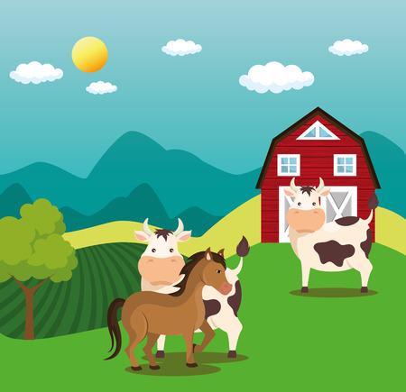 animals in the farm scene vector illustration design Illustration