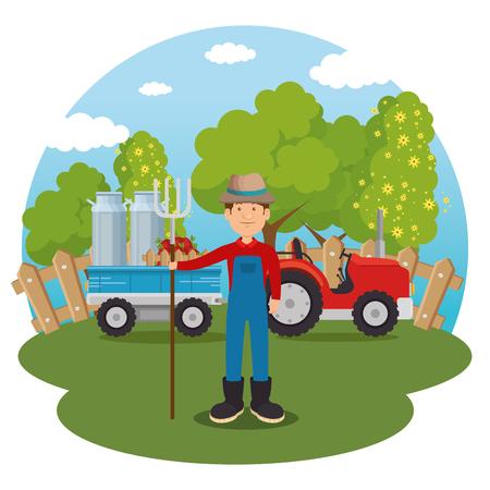 farmer in the farm scene vector illustration design Illustration