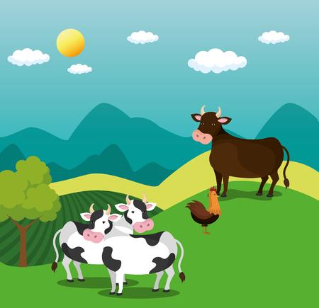animals in the farm scene vector illustration design Stock Vector - 103485225