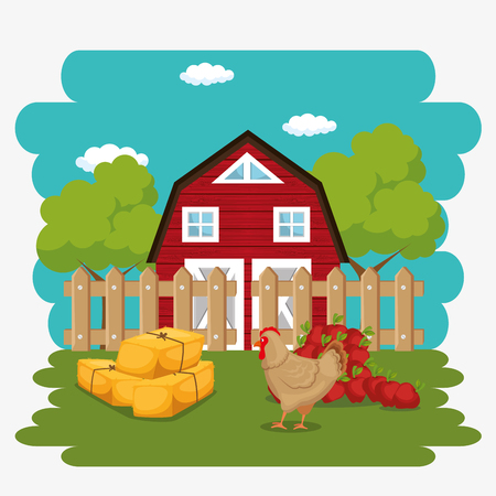farmhouse in the farm scene vector illustration design Stock Vector - 103476954