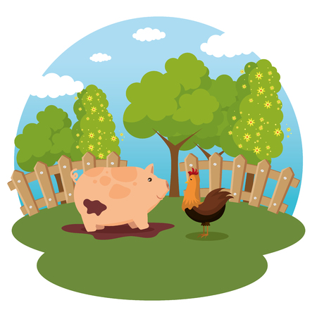 animals in the farm scene vector illustration design  イラスト・ベクター素材
