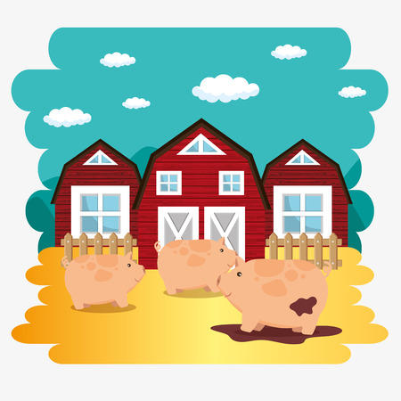 pigs in the farm scene vector illustration design
