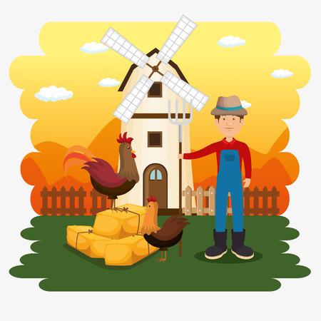 farmer in the farm scene vector illustration design Ilustração