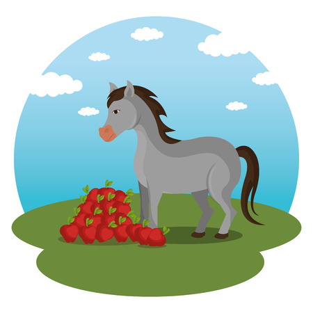 horses in the farm scene vector illustration design