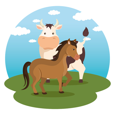 animals in the farm scene vector illustration design Ilustração