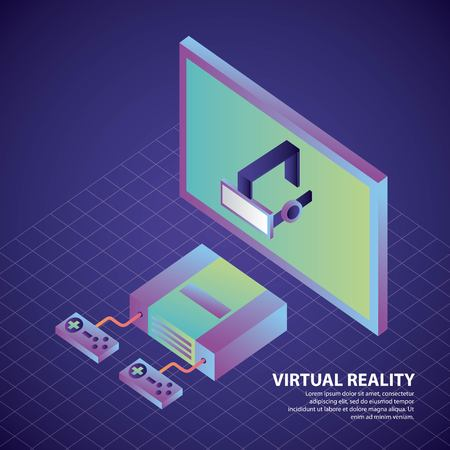 virtual reality console controls and headset illustration, vector, Illustration