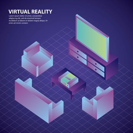 living room furniture sofas and tv virtual reality illustration, vector,