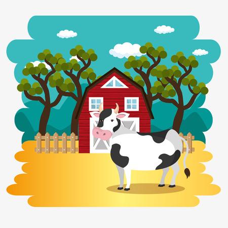 cows in the farm scene vector illustration design Stock Vector - 103476784