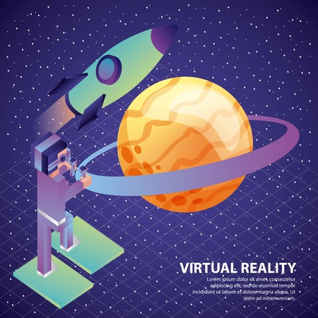 man with vr control headset stairs rocket saturn planet illustration, vector, Illustration
