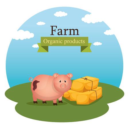 pigs in the farm scene vector illustration design Stock Vector - 103476792