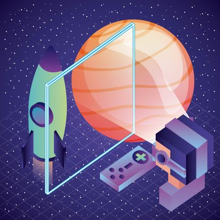 gamer vr glasses watching space ship planet illustration, vector,