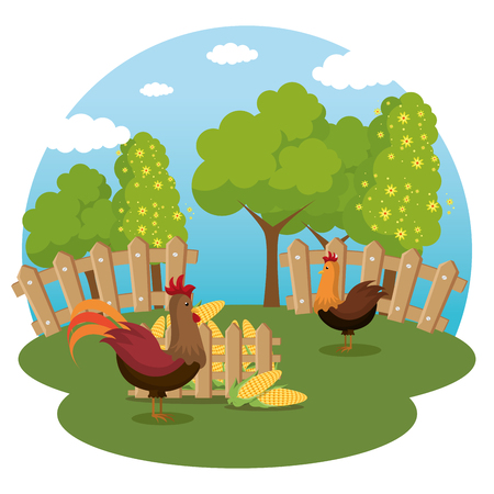 roosters in the farm scene vector illustration design Stock Illustratie