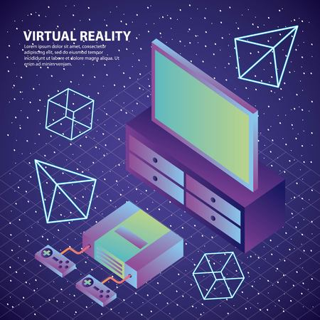 virtual reality console controls television 3d figures illustration, vector,