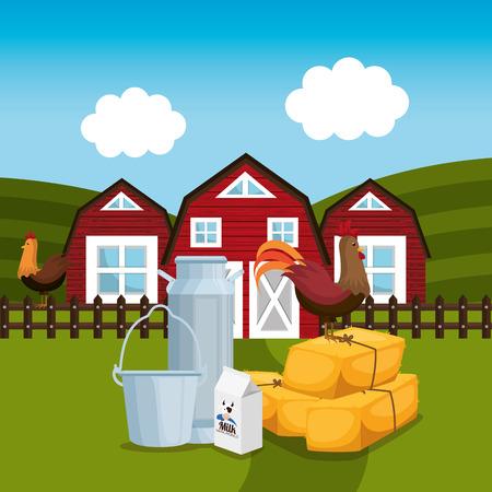farmhouse in the farm scene vector illustration design Illustration