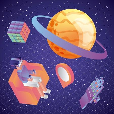 man sitting on sofa playing vr watching 3d planets illustration, vector, Иллюстрация