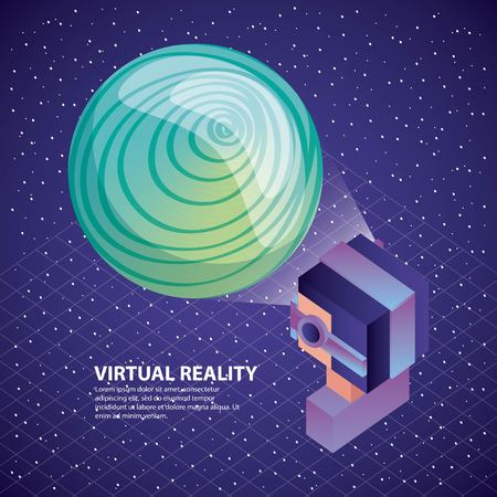gamer using virtual reality glasses watching planet on screen illustration, vector,