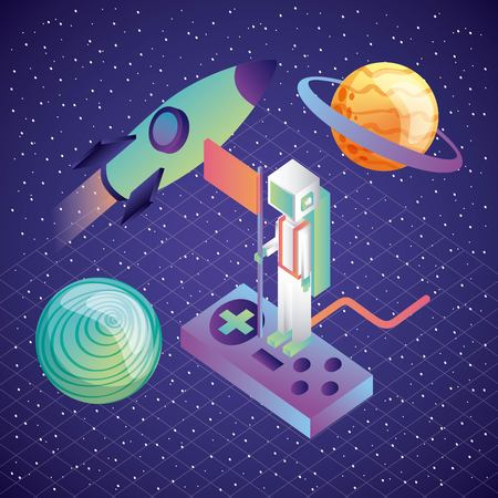virtual reality astronaut on control game rocket and planets galaxy illustration, vector,