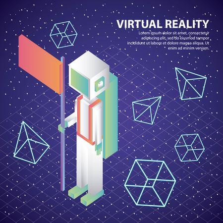 virtual reality astronaut with flag 3d figures illustration, vector, Ilustração