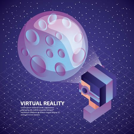 gamer using virtual reality glasses watching moon illustration, vector, 일러스트