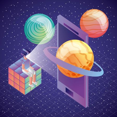 gamer sitting in rubik cube with vr glasses phone planets 3d illustration, vector, Vettoriali