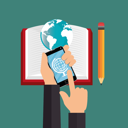 electronic learning with smartphone vector illustration design