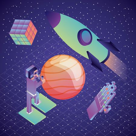 man using vr glasses and controllers wired glove planet and spaceship illustration, vector,