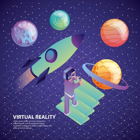 gamer with vr glasses and control climb stairs space rocket planets illustration, vector, Imagens - 103485667