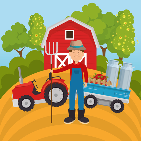 farmer in the farm scene vector illustration design  イラスト・ベクター素材