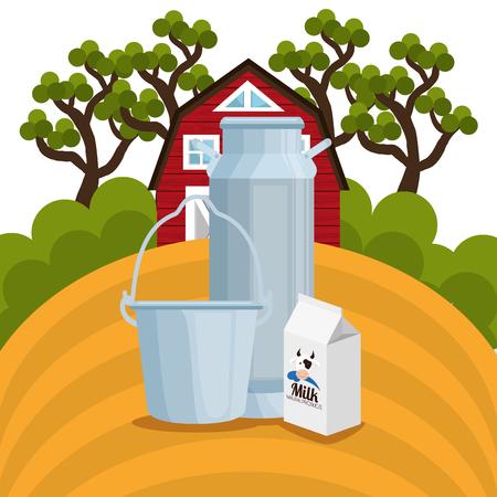 farmhouse in the farm scene vector illustration design Stock Vector - 103485670