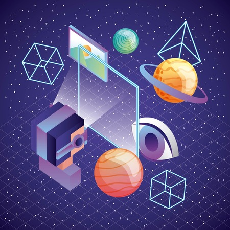 man using vr goggles screen planet 3d figures and screen illustration, vector,