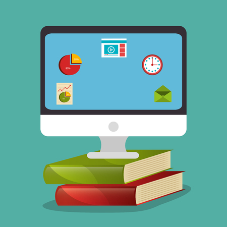 electronic learning with computer vector illustration design