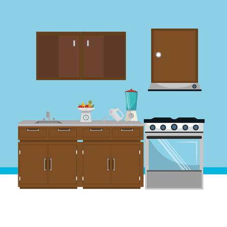 kitchen modern scene icons vector illustration design Stock Illustratie