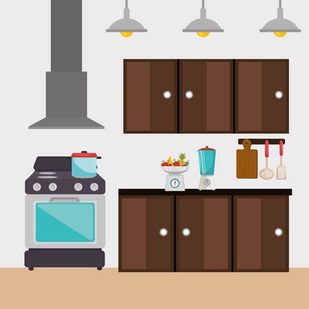 kitchen modern scene icons vector illustration design Ilustrace