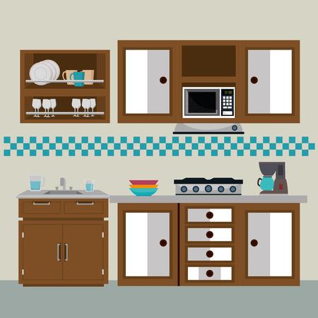 kitchen modern scene icons vector illustration design Illusztráció