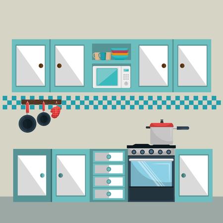 kitchen modern scene icons vector illustration design Illustration