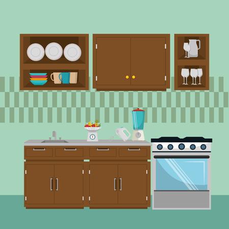 kitchen modern scene icons vector illustration design Stockfoto - 103485820