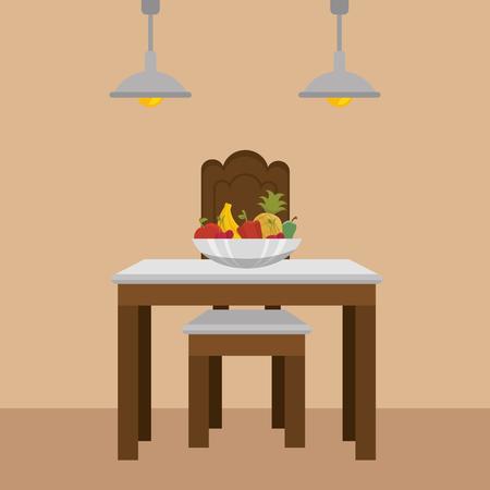 dinning room table kitchen scene vector illustration design Stock Illustratie