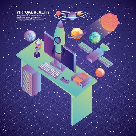 virtual reality desk computer rocket galaxy satellite planets vector illustration