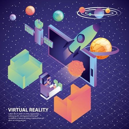 man with virtual reality glasses smartphone rocket satellite space vector illustration