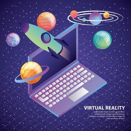 virtual reality laptop 3d rocket planet system solar vector illustration