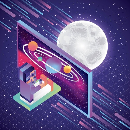 man sit playing with virtual reality glasses screen system solar moon vector illustration Foto de archivo - 103485848