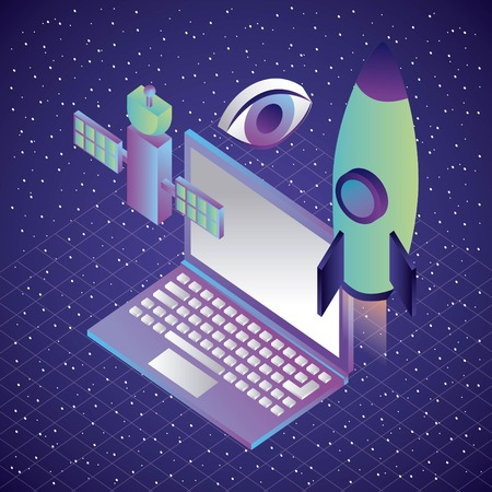 laptop and rocket satellite vision virtual reality vector illustration Illustration