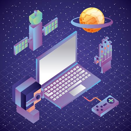man and laptop virtual reality control wired glove satellite planet vector illustration