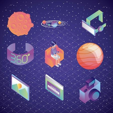 virtual reality technology futurist entertainment set vector illustration