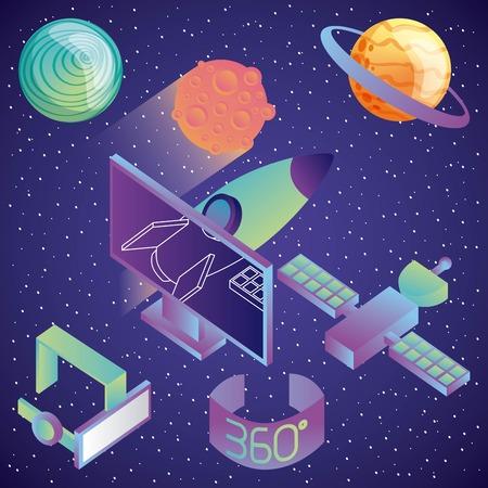 virtual reality technology futurist entertainment vector illustration