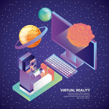 man in virtual reality headset computer 3d planets cosmos vector illustration