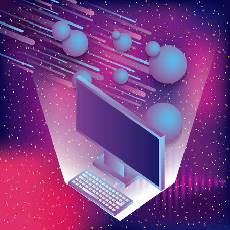 computer and virtual reality space asteoid and stars vector illustration Illustration