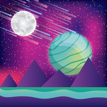 landscape mountains moon planet asteroids virtual reality vector illustration