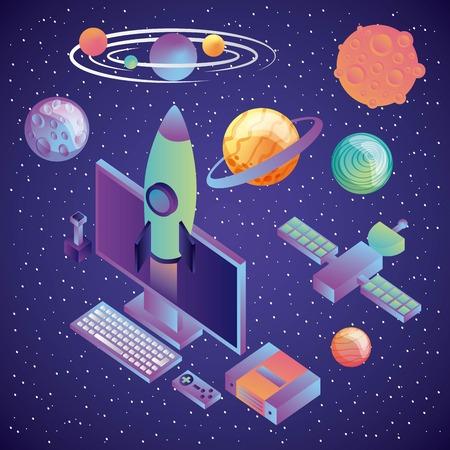 Ilustración de vector de entretenimiento futurista de tecnología de realidad virtual